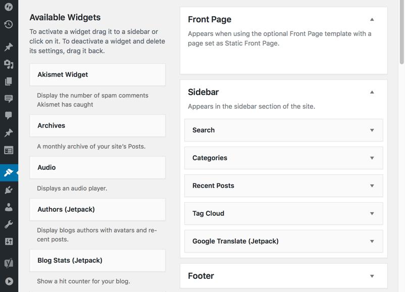 Screenshot your widget areas when updating your WordPress theme