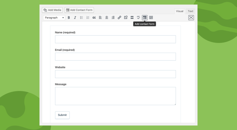 screen shot of the new jetpack contact form