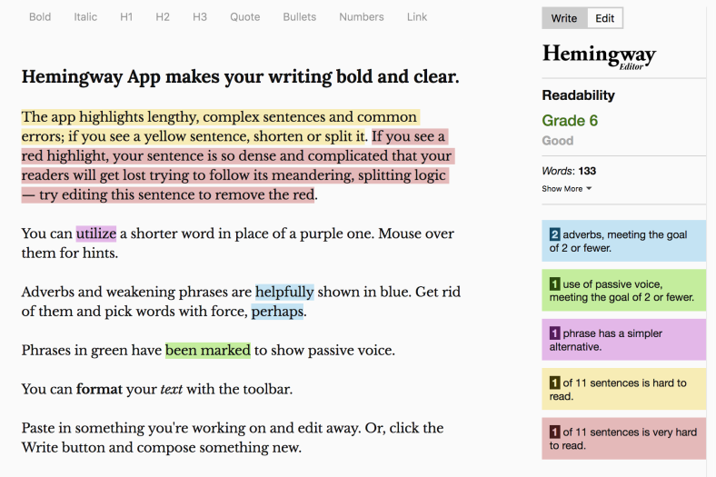 The Hemingway app, which helps you write clearly
