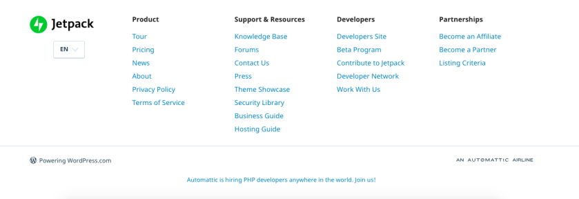 The footer on Jetpack.com