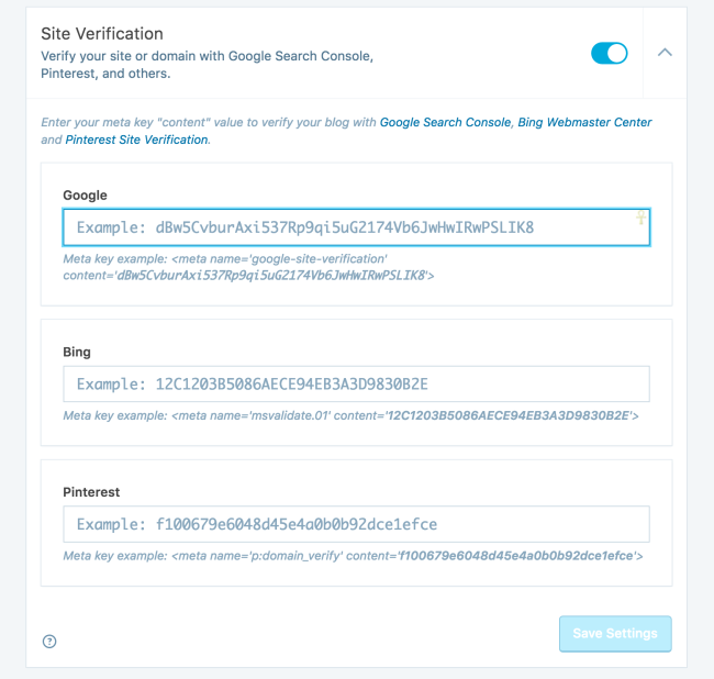 Verify your site to use it with these Google tools