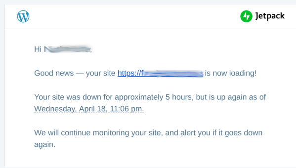 Site uptime email
