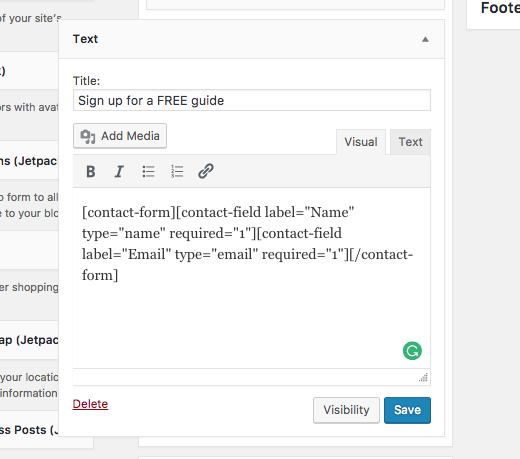 Adding contact form to widget