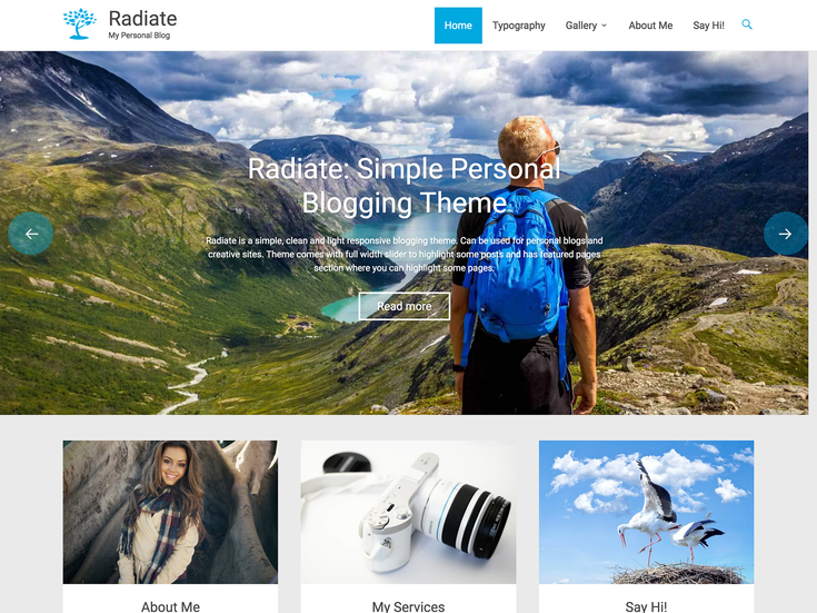 Radiate premium WordPress theme