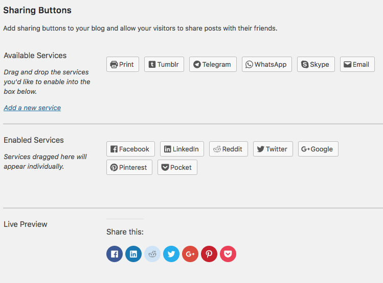 Configuring social sharing buttons in Jetpack
