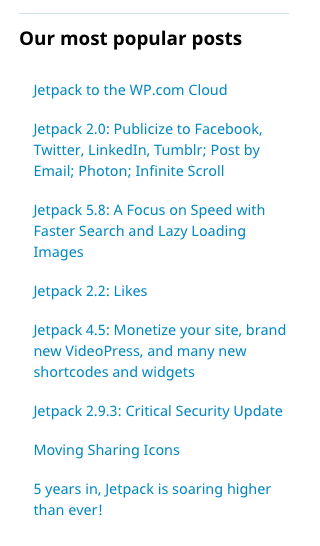 The popular posts and pages widget