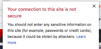Screenshot of security warning in Google Chrome for site without SSL certificate