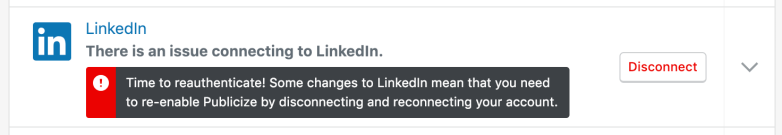 Notice informing user that LinkedIn needs to be reauthenticated