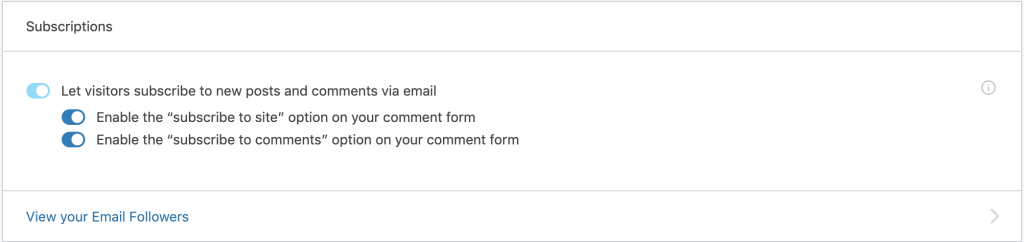 Subscriptions options in the  Jetpack settings of WP Admin