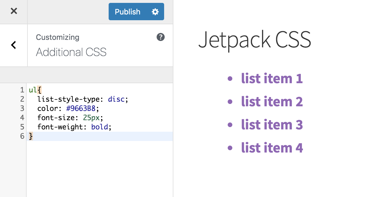 Jetpack CSS customization bullet lists