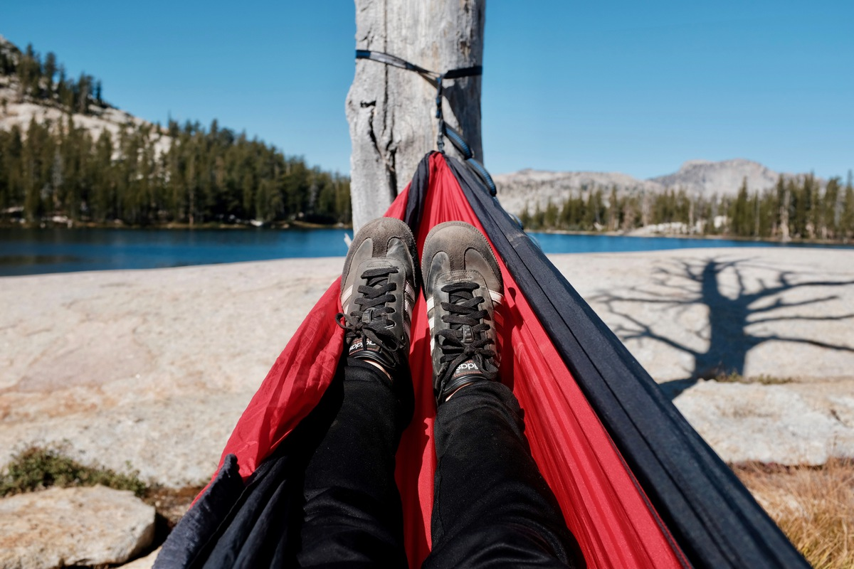Ann's nomad lifestyle, feet up in hammock