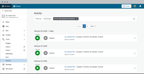 Jetpack Activity log