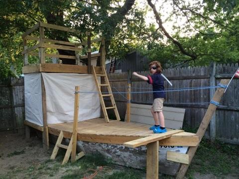 Jesse's homemade pirate ship playhouse