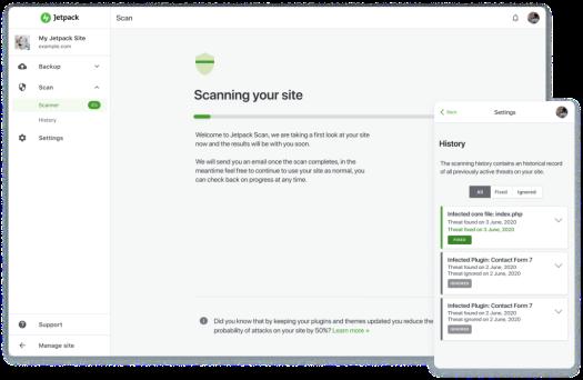 Jetpack Scan scanning a WordPress site