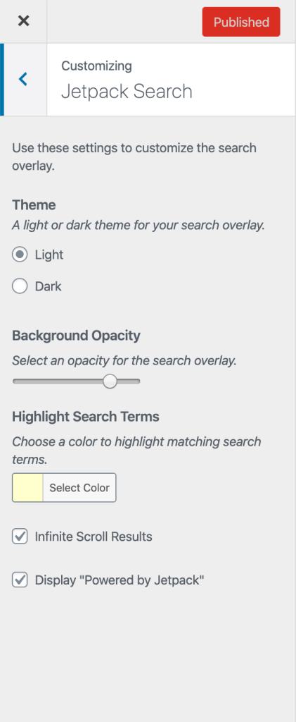 Jetpack search settings