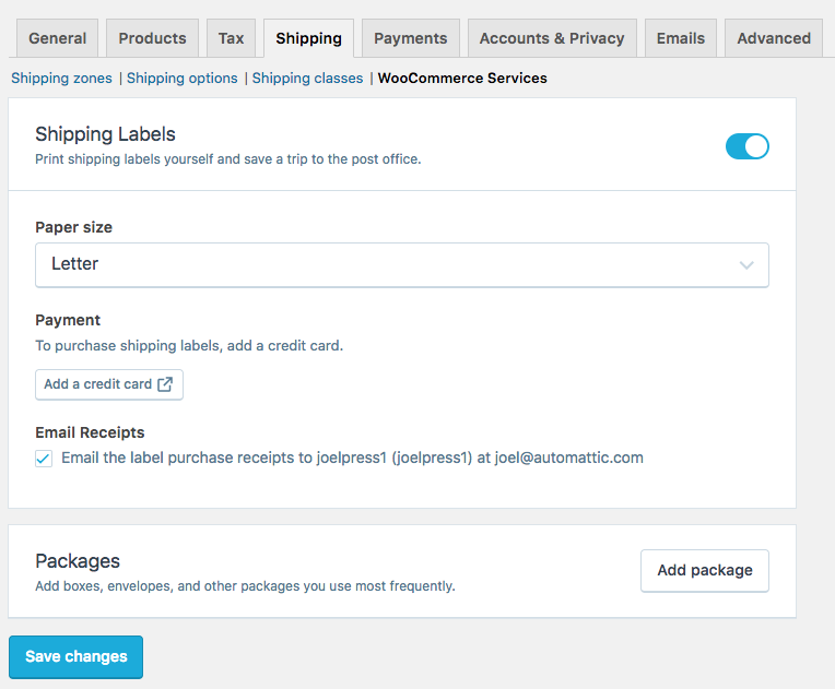 Woocommerce settings for package shipping