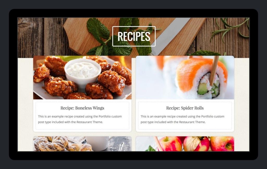 Recipes on a restaurant website