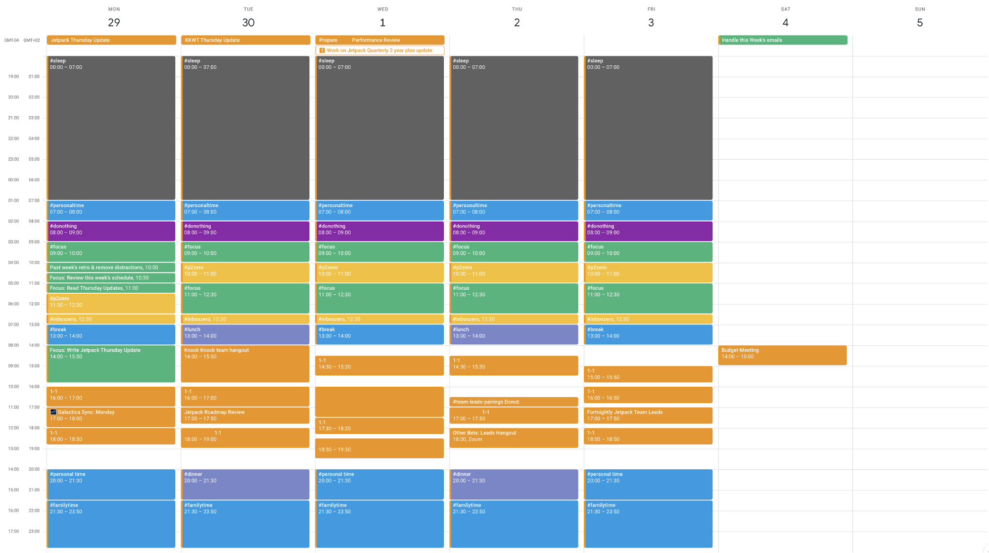 schedule with blocked out tasks