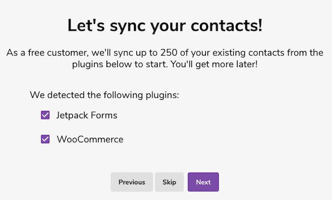 syncing contacts from Jetpack Forms and WooCommerce