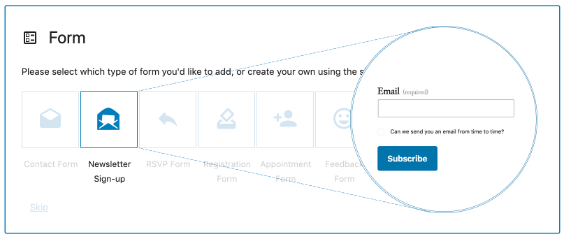 adding a Newsletter Sign-up block to a page