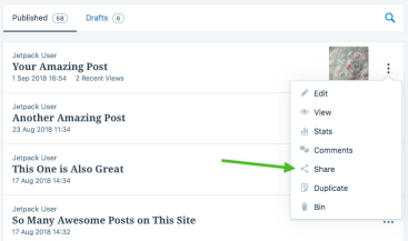 sharing a blog post from the WordPress dashboard