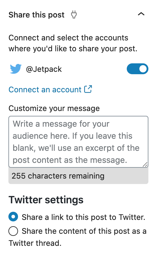 Jetpack social share settings