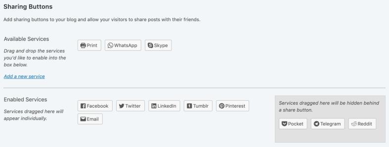 Jetpack social sharing button settings