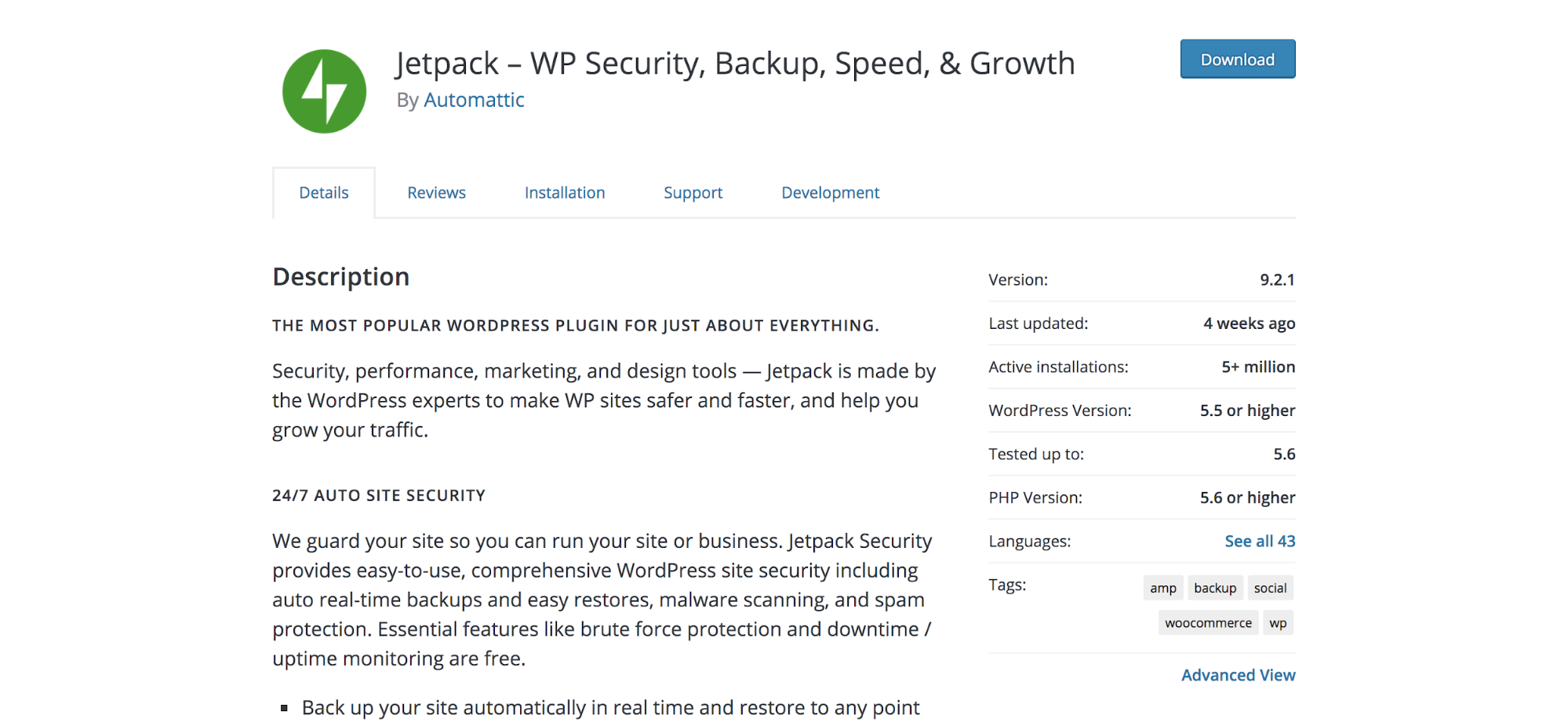 Jetpack plugin page in the WordPress repository