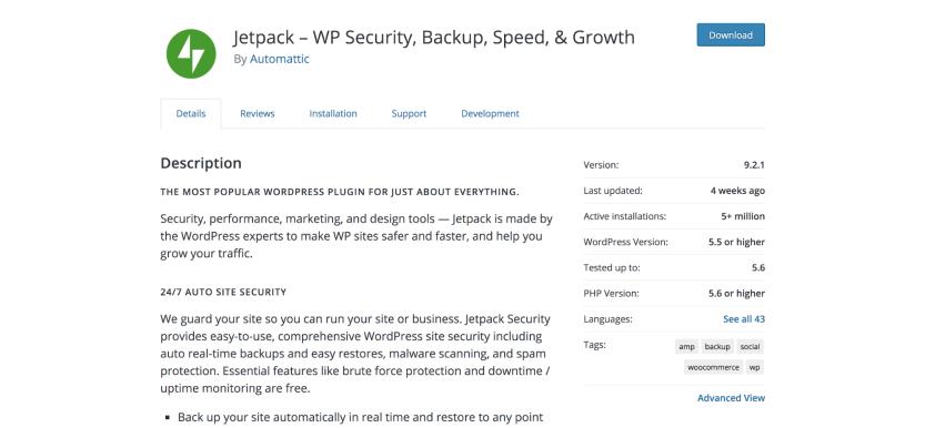 Jetpack plugin page in the WordPress repository