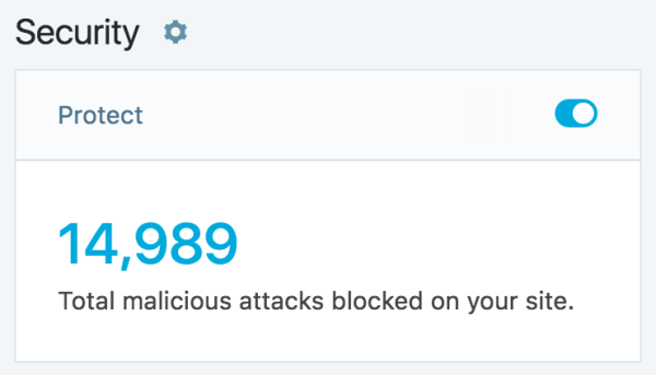 module showing the total number of malicious attacks blocked on a site