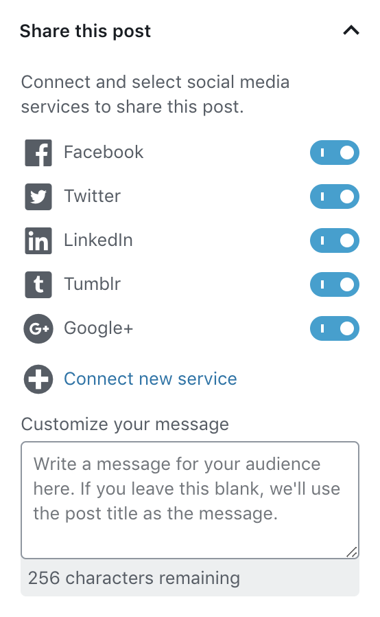 Automated social media post to Facebook, Twitter, LinkedIn, and Tumblr