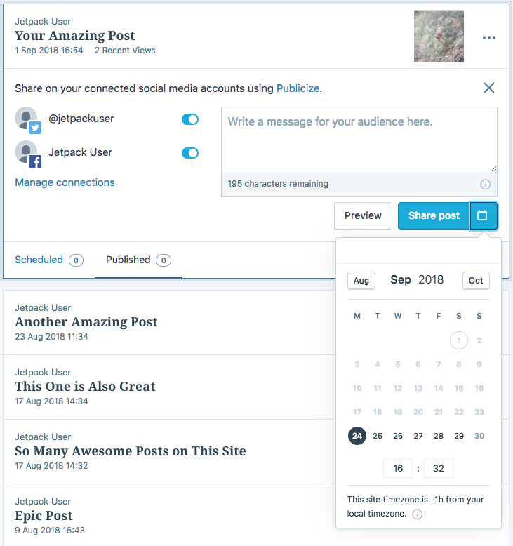 Schedule social media posts from WordPress to Facebook and Twitter