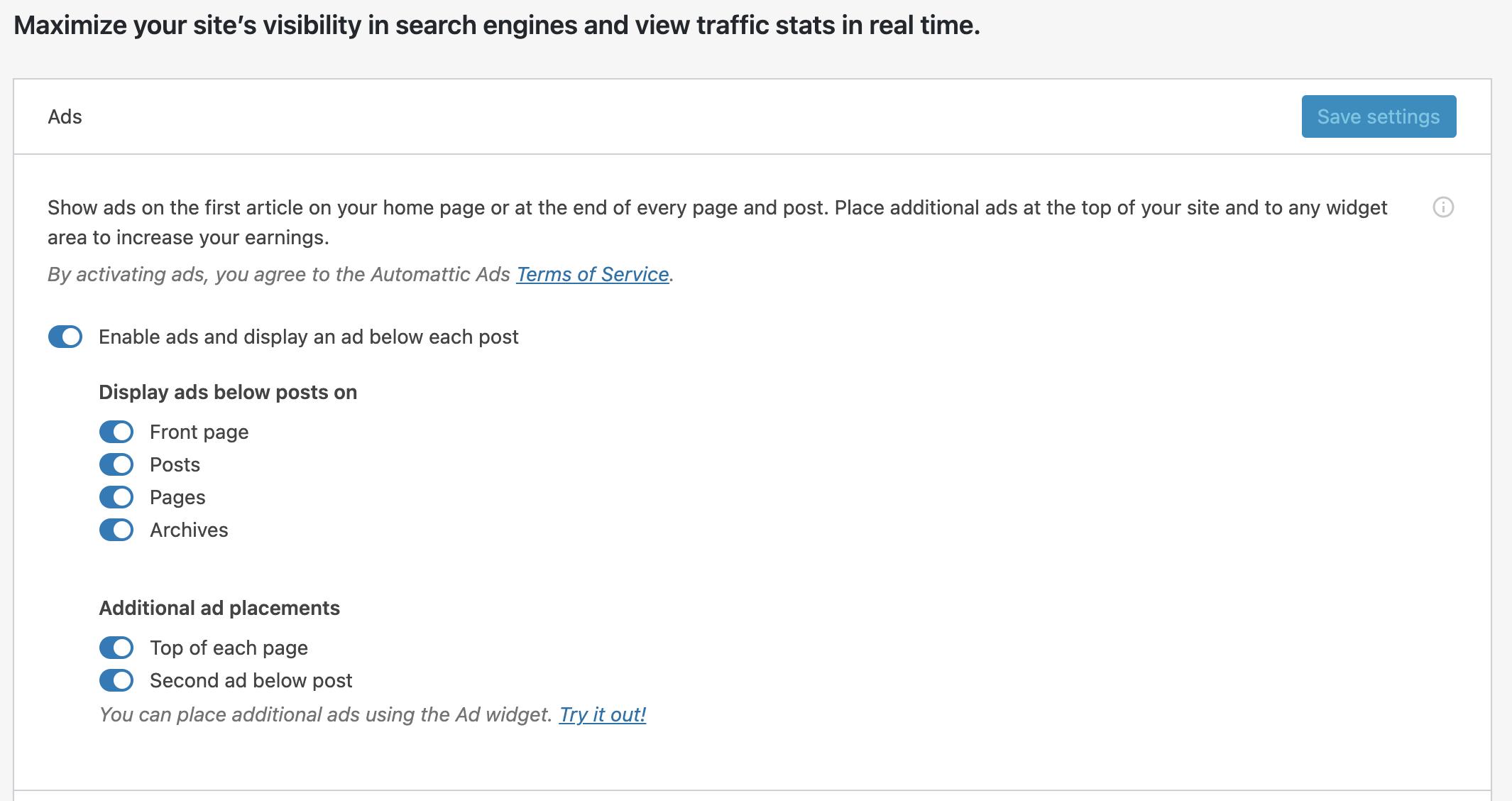 WordPress ad revenue settings with Jetpack
