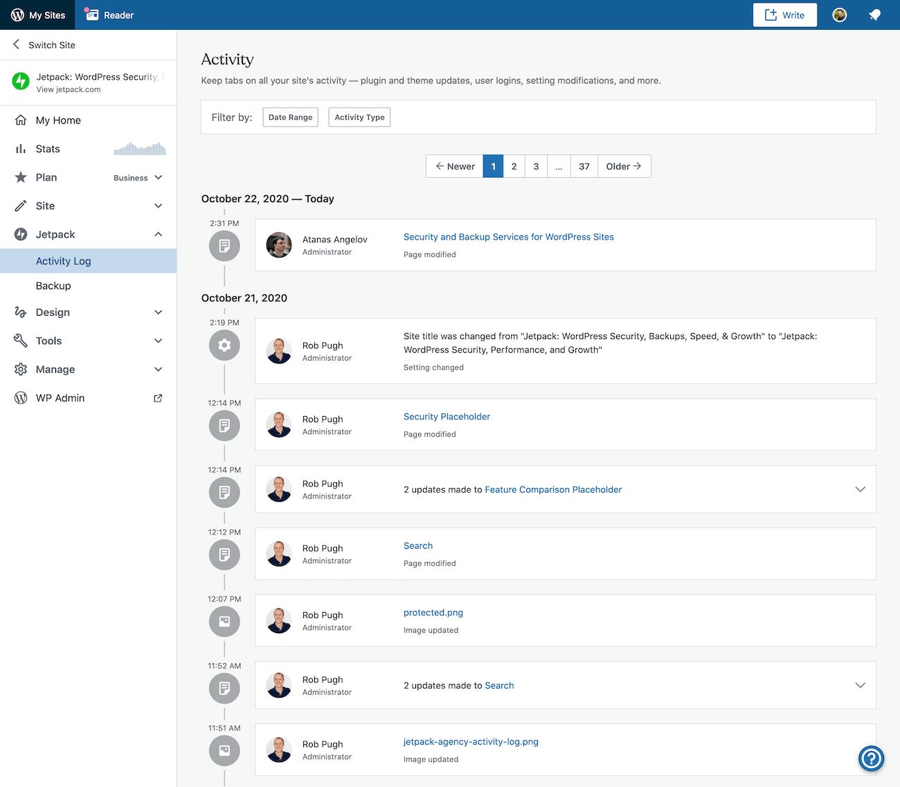 Jetpack activity log with backups