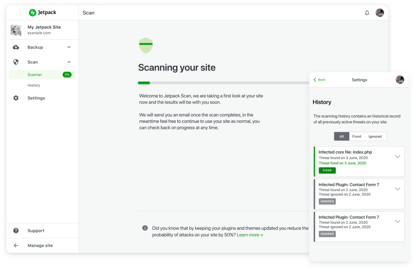 Jetpack Scan scanning a site for malware