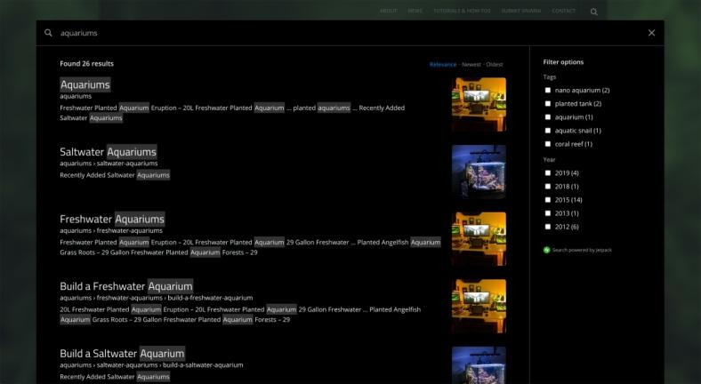 Jetpack Search new display in dark mode
