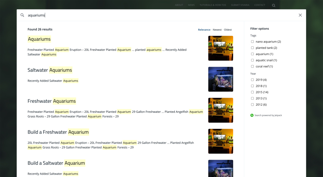 Jetpack Search results on a page