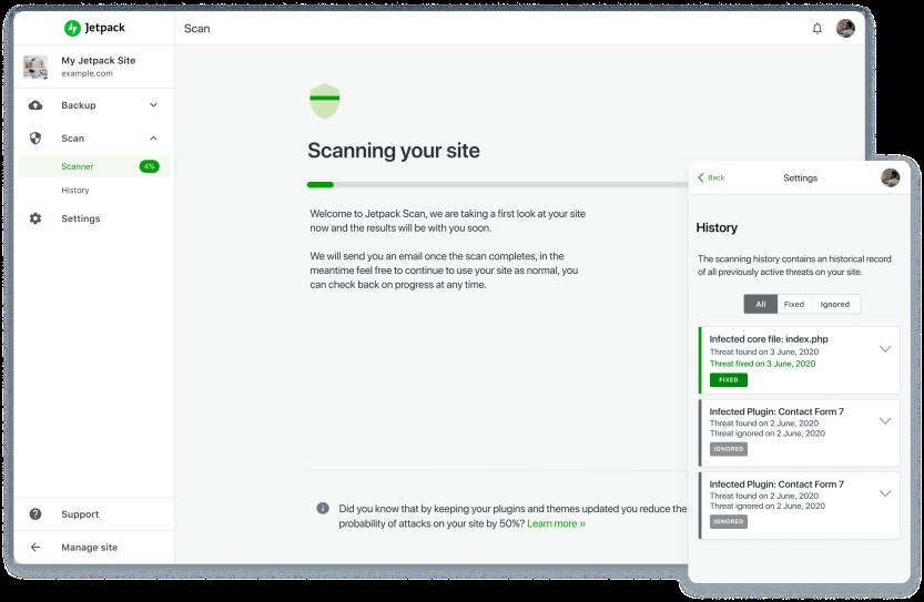 Jetpack Scan scanning a WordPres site for malware