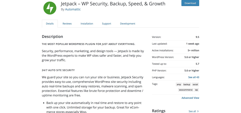 Jetpack plugin listing in the WordPress repository