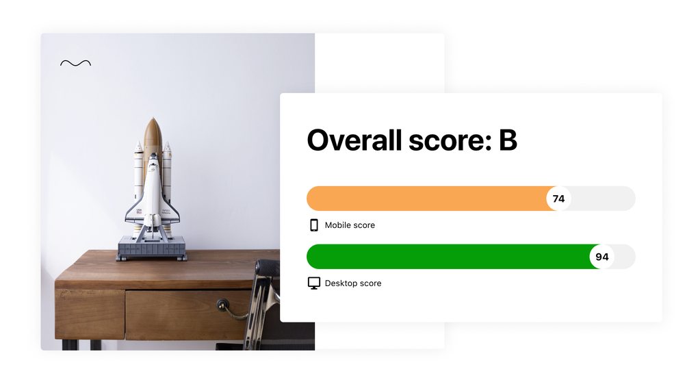 An image displaying a website's overall score from Jetpack Boost for mobile and desktop