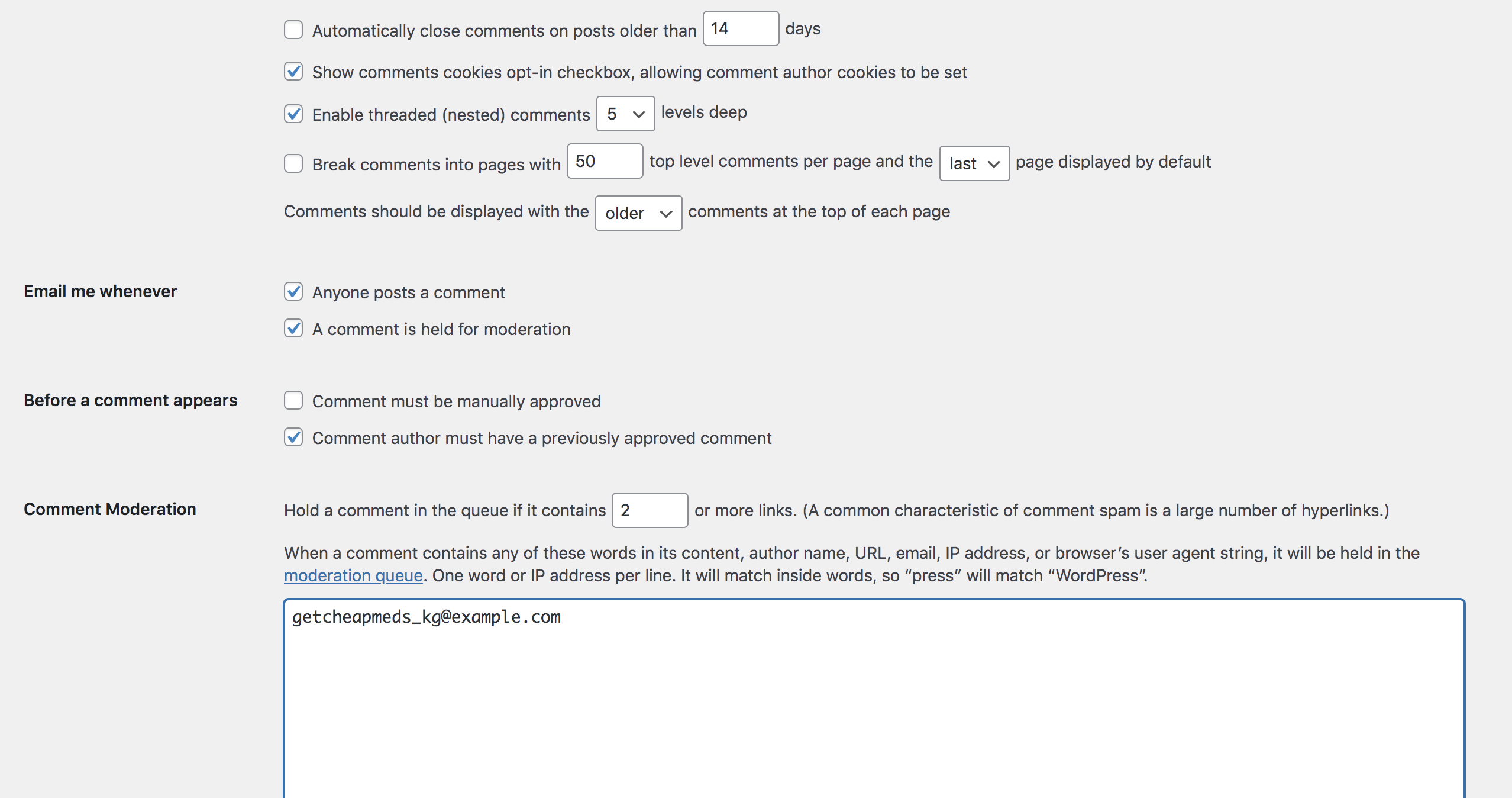 comment moderation list with email addresses to block