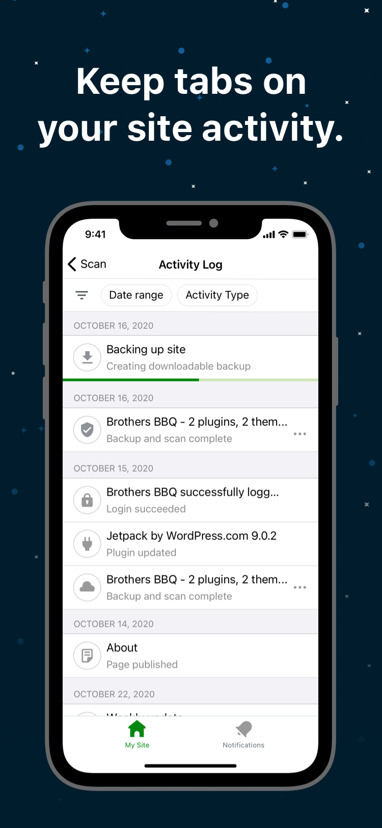 activity log from inside the Jetpack mobile app