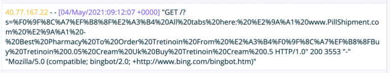 Code for a spam request