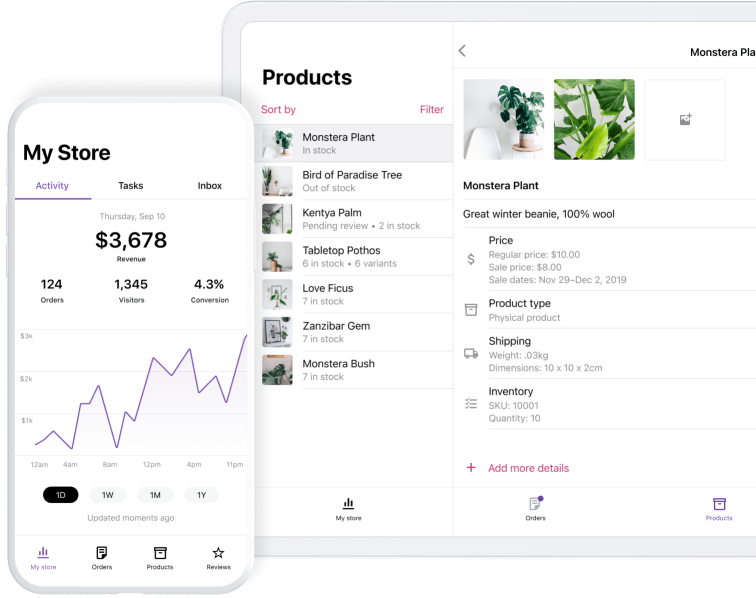 WooCommerce mobile app on a phone and tablet