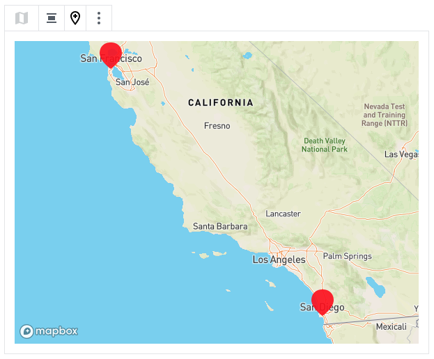 map showing California with several location pins