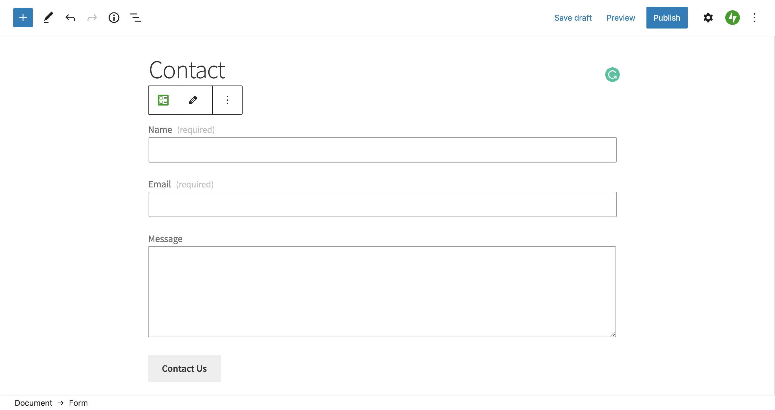contact form block on a WordPress site