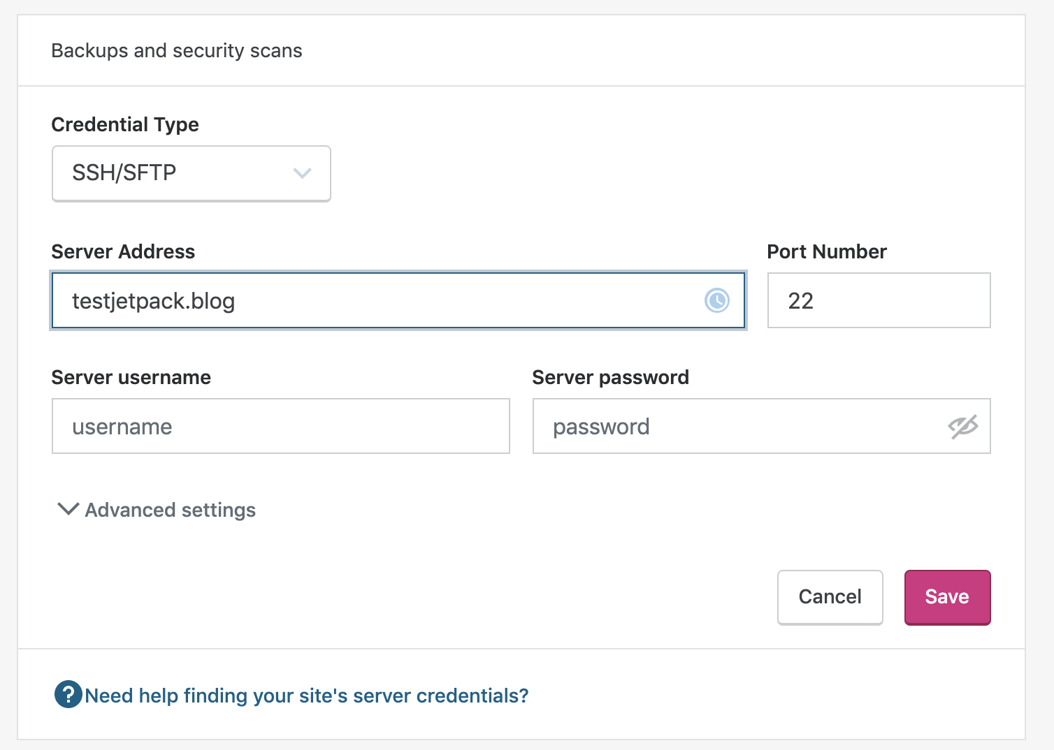 adding SSH/SFTP credentials to Jetpack