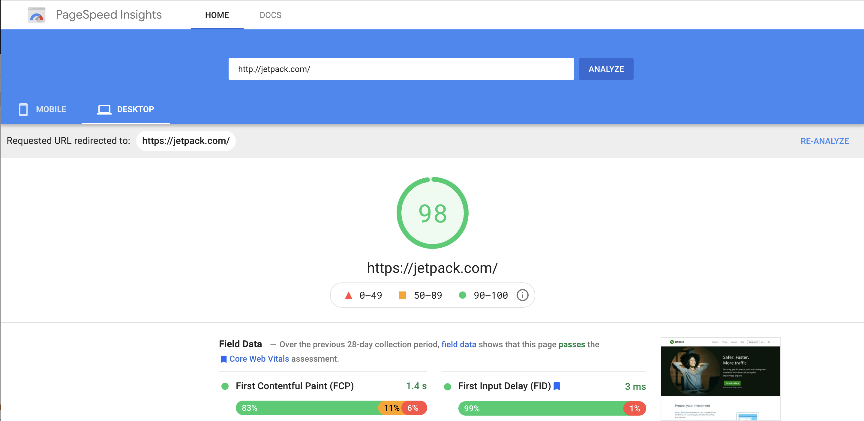 Google PageSpeed report for Jetpack.com