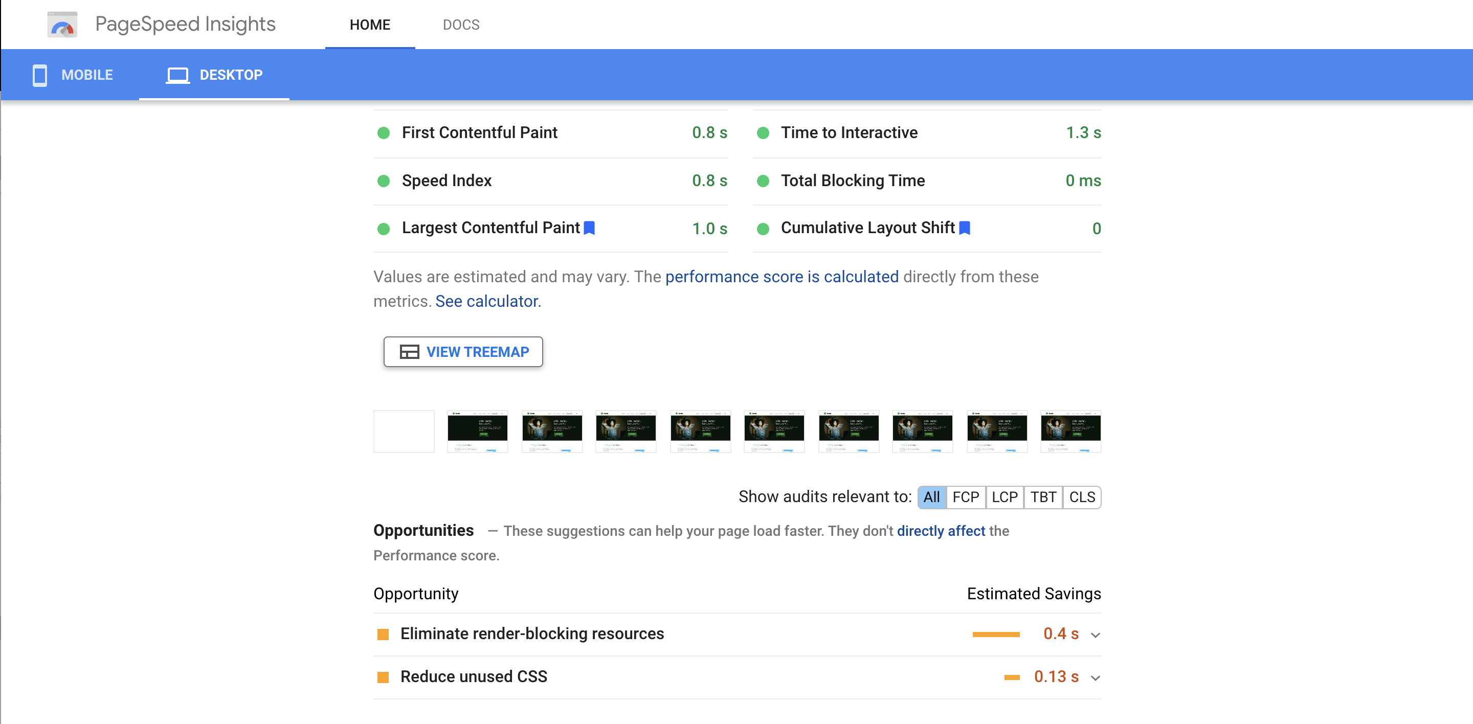 Opportunities section on Google PageSpeed Insights for Jetpack.com