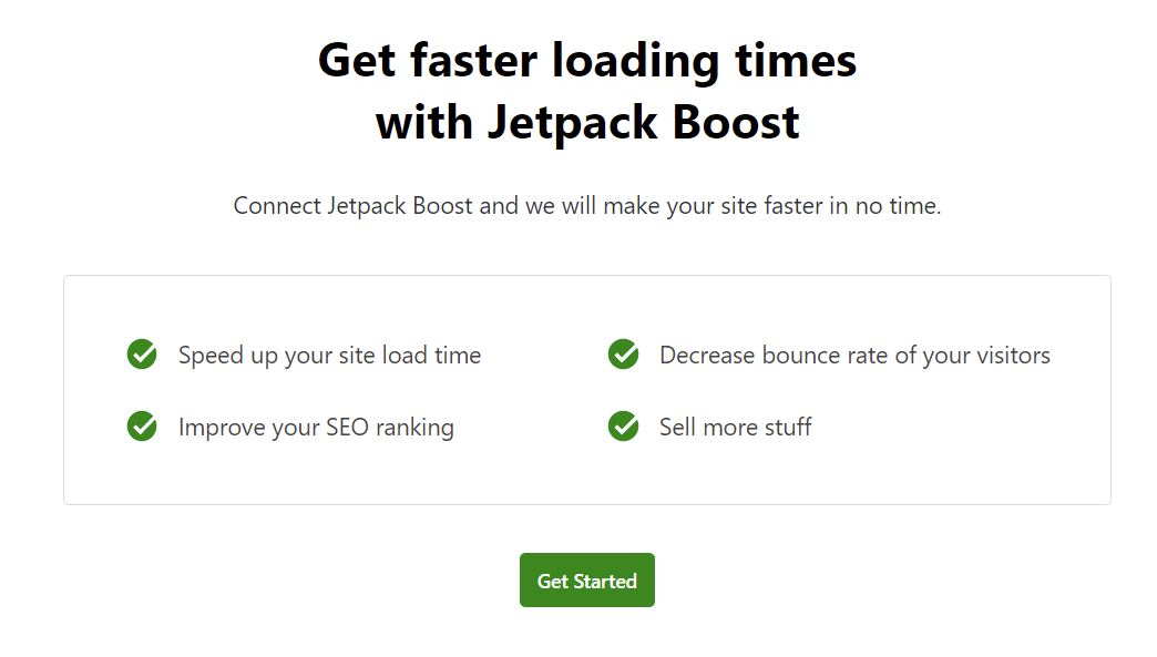 Jetpack Boost plugin welcome screen